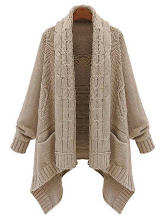 chic Open Front Cable Knit Irregular Cardigan - KHAKI XL