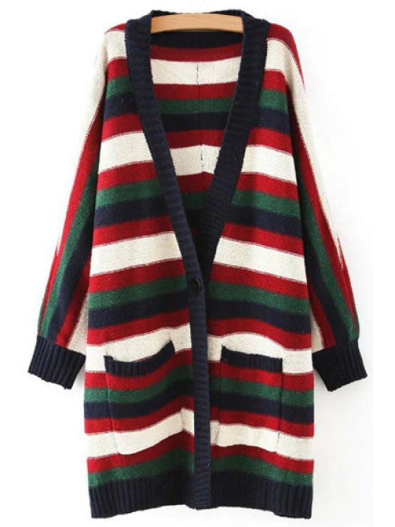 trendy V-Neck Colorful Striped Long Cardigan - BLACK ONE SIZE(FIT SIZE XS TO M)