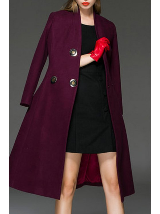 fashion Vogue Solid Color Buttons Long Sleeves Coat - CLARET S
