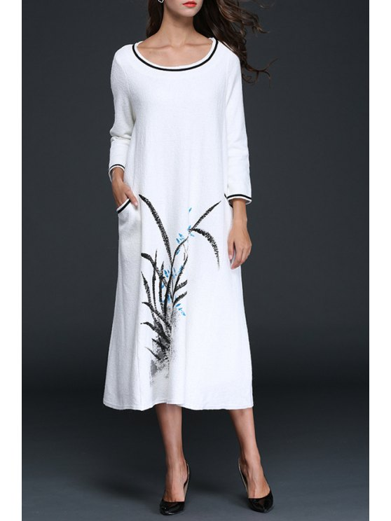 outfit Flower Print Woolen Long Sleeves Maxi Dress - WHITE S