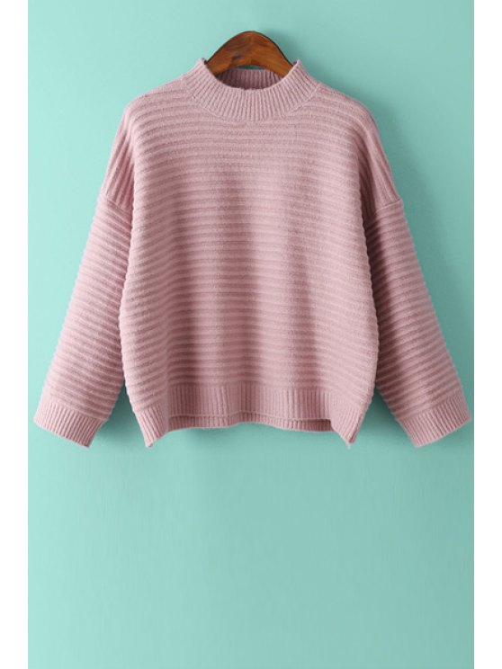 shops Jewel Neck Loose Fit Sweater - PINK ONE SIZE(FIT SIZE XS TO M)