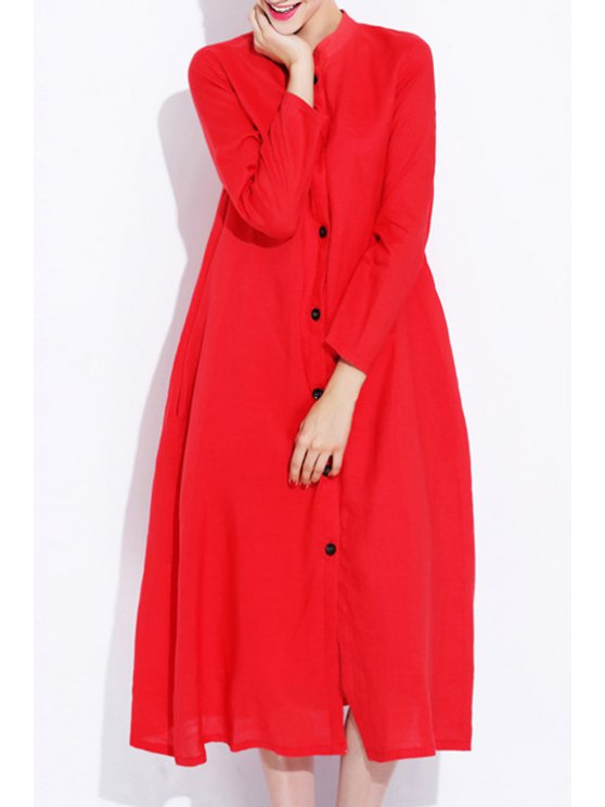 best Solid Color Single-Breasted Long Sleeves Dress - RED S