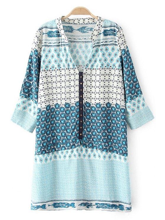 trendy V-Neck 3/4 Sleeve Straight Dress - LIGHT BLUE S