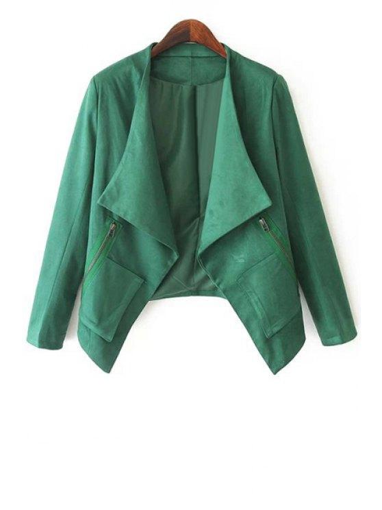 chic Open Front Zip Pockets Suede Jacket - GREEN S