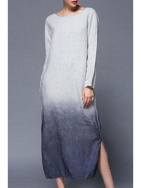womens Gradient Color Side Slit Long Sleeves Dress - BLUE S