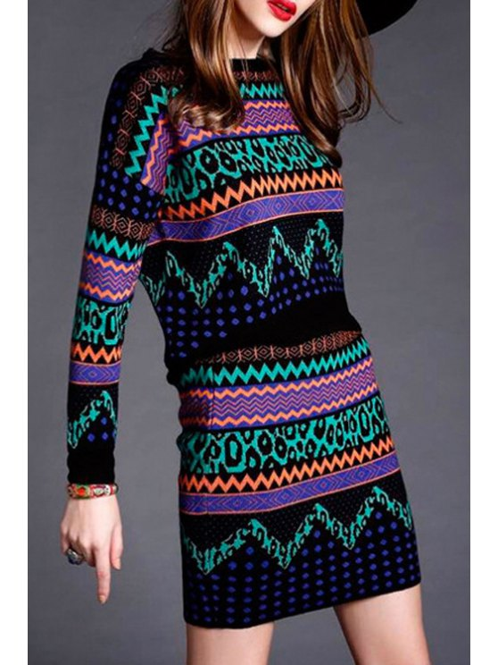 chic Geometric Print Knitted Sweater and Skirt Twinset - COLORMIX S