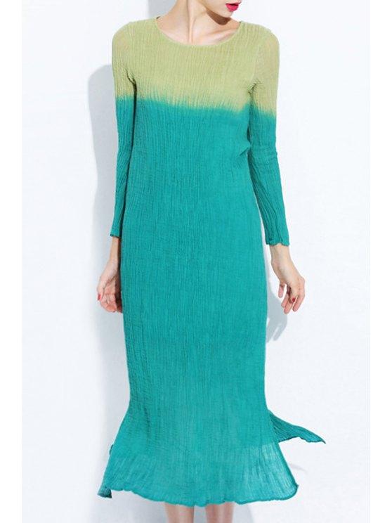 hot Side Slit Gradient Color Long Sleeves Dress - GREEN S