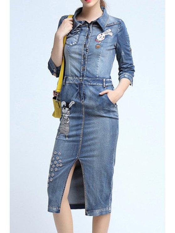 best Cartoon Embroidery Front Slit Flat Collar Denim Dress - LIGHT BLUE S