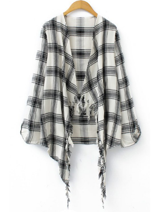 women Long Sleeve Plaid Self-Tie Blouse - WHITE S