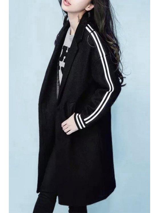 fashion Lapel Letter Pattern Black Coat - BLACK S