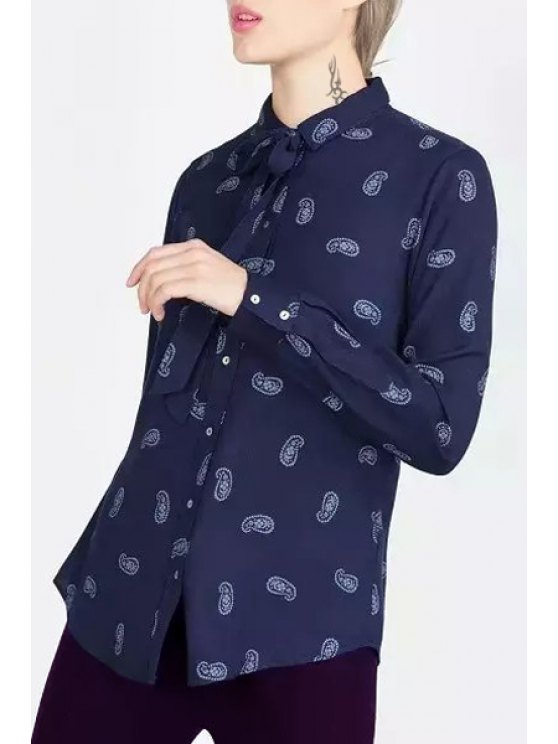 outfit Long Sleeve Paisley Bowknot Shirt - BLUE S