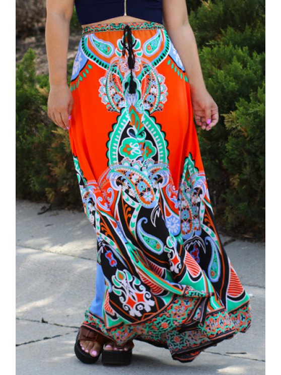 sale Ethnic Style Printed Loose Fitting Skirt - COLORMIX ONE SIZE(FIT SIZE XS TO M)