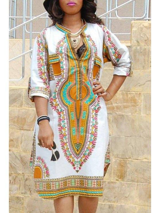 shop Vintage Print Ethnic Style Side Slit Dress - WHITE S