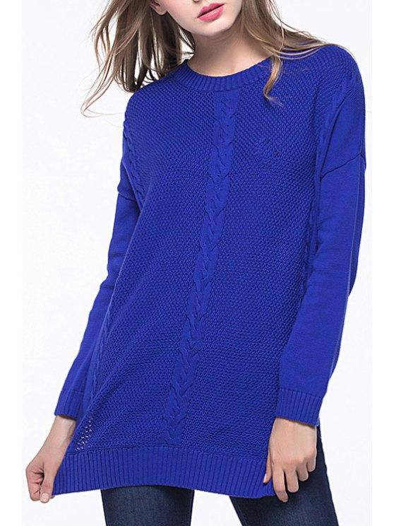 online Blue Jewel Neck Long Sleeves Jumper - BLUE XL