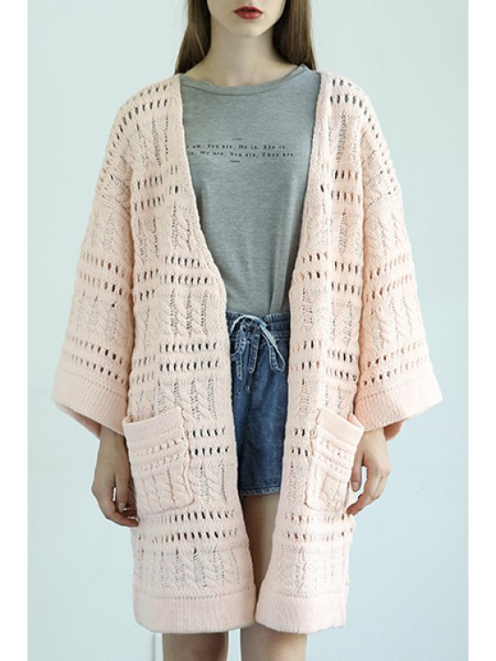 fancy Wide Sleeve Two Pockets Openwork Cardigan - PINK ONE SIZE(FIT SIZE XS TO M)