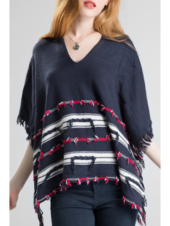 unique V-Neck Striped Fringed Poncho - CADETBLUE ONE SIZE(FIT SIZE XS TO M)