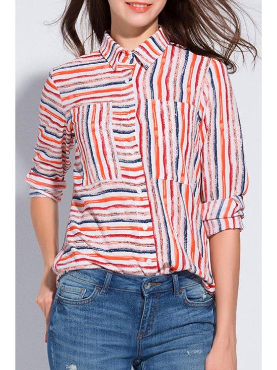 buy Colorful Striped Shirt Neck Long Sleeve Shirt - STRIPE XL