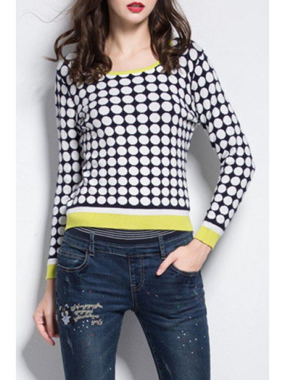 affordable Circle Pattern Scoop Neck Long Sleeve Jumper - WHITE AND BLACK XL