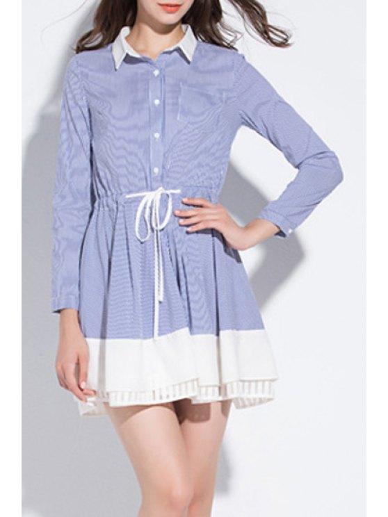 ladies Blue Striped Shirt Neck Long Sleeve Dress - BLUE XL