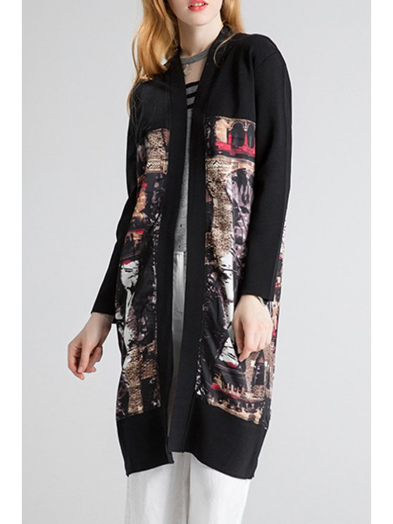 outfits Collarless Splicing Long Cardigan - BLACK ONE SIZE(FIT SIZE XS TO M)