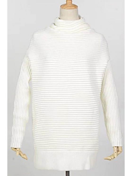 online Solid Color Loose Fitting Heaps Collar Long Sleeves Sweater - WHITE ONE SIZE(FIT SIZE XS TO M)