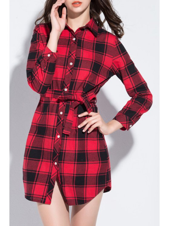 women's Red Checked Turn Down Collar Long Sleeve Shirt - RED XL