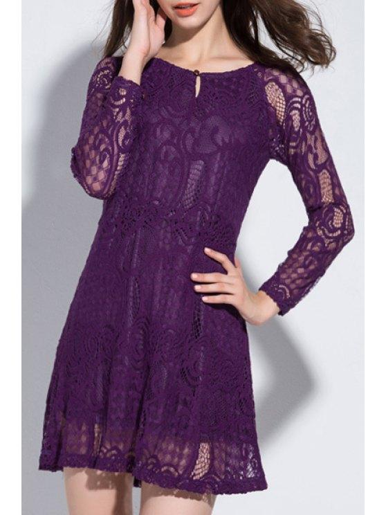 online Purple Long Sleeves Lace Dress - PURPLE 6XL