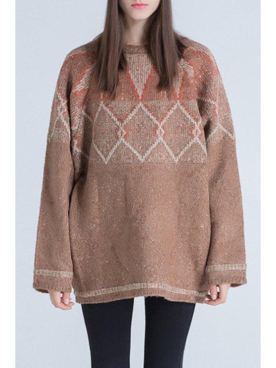 women Jacquard Oversized Sweater - KHAKI ONE SIZE(FIT SIZE XS TO M)