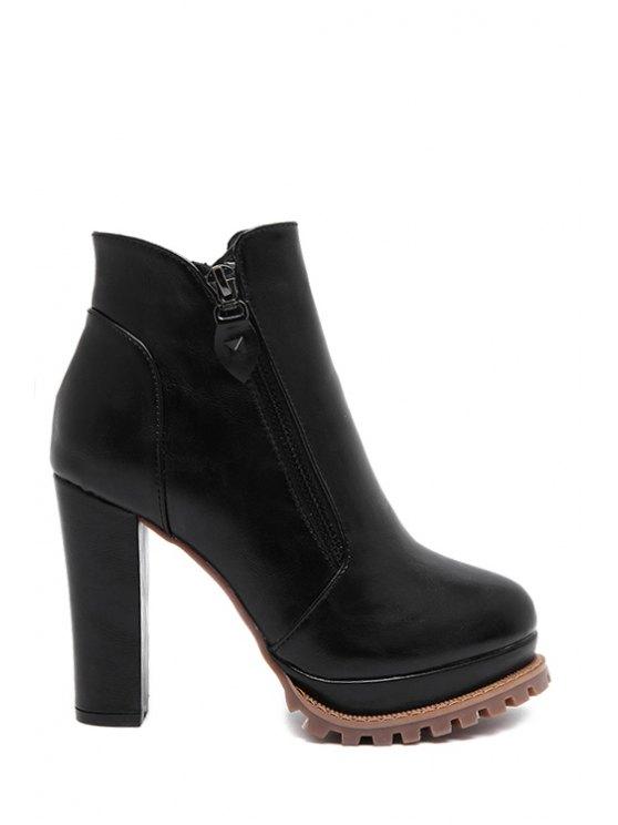 lady Zipper Platform Black High Heel Boots - BLACK 34