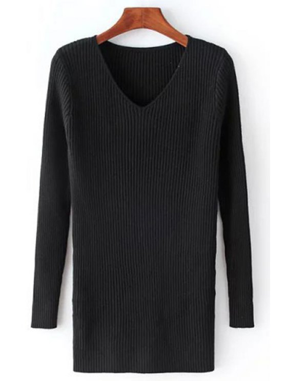 hot Solid Color Knitted V-Neck Long Sleeves Sweater - BLACK ONE SIZE(FIT SIZE XS TO M)