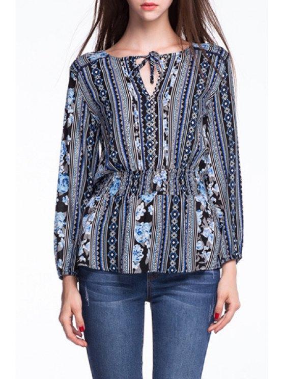 shops Floral V Neck Long Sleeve Lace Up Blouse - BLUE XL