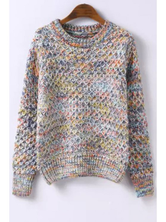 fashion Colormix Knitted Round Neck Long Sleeves Sweater - OFF-WHITE ONE SIZE(FIT SIZE XS TO M)