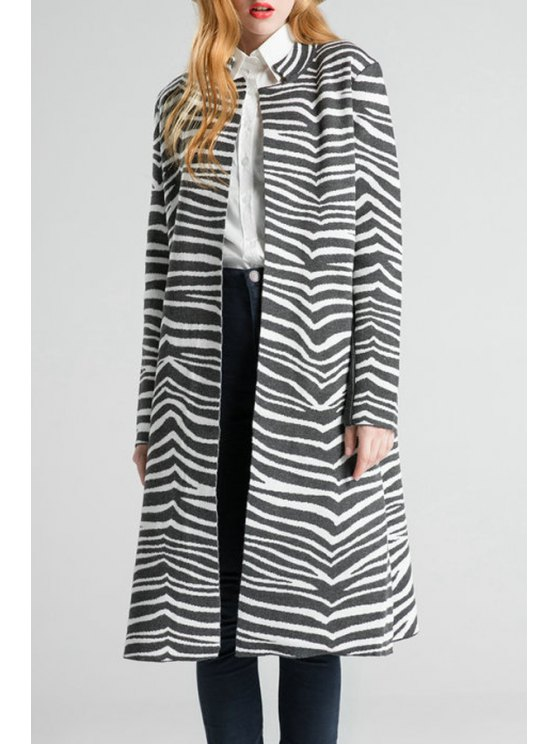 ladies Notched Collar Zebra Pattern Cardigan - GRAY ONE SIZE(FIT SIZE XS TO M)