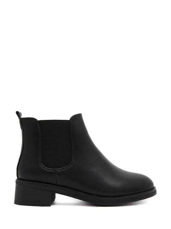 trendy Elastic Solid Color PU Leather Ankle Boots - BLACK 35