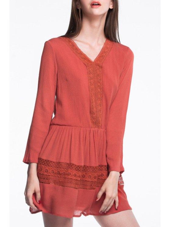 fancy Orange V Neck Long Sleeve Dress - ORANGE XL