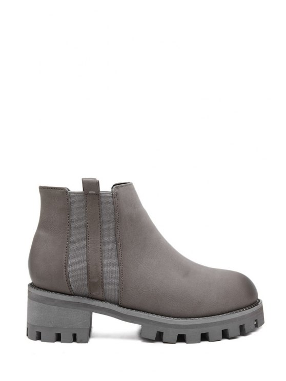 sale Elastic Solid Color Chunky Heel Short Boots - LIGHT GRAY 35