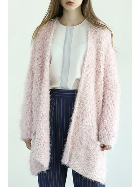lady Open Front Two Pockets Cardigan - PINK ONE SIZE(FIT SIZE XS TO M)