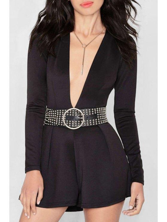 shop Black Plunging Neck Long Sleeve Playsuit - BLACK S