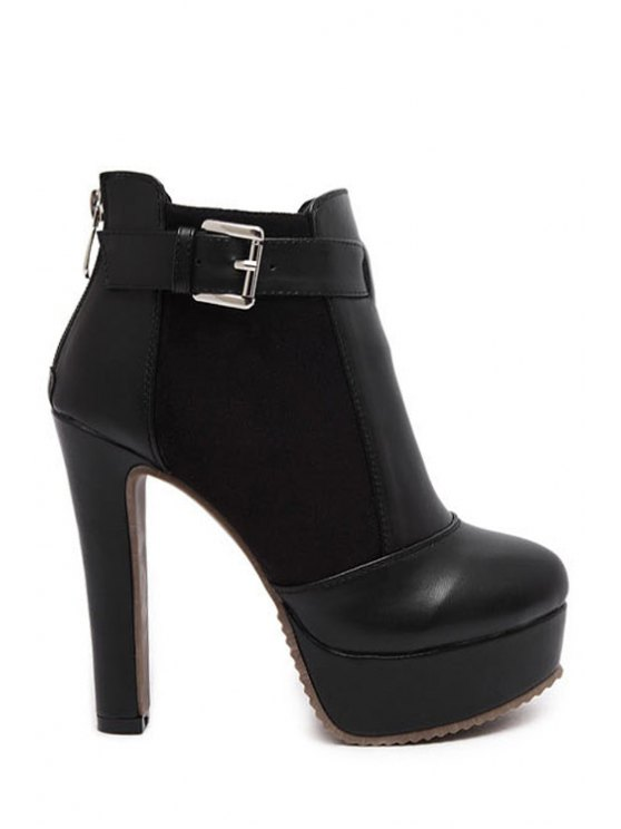 fancy Chunky Heel Splicing Black Ankle Boots - BLACK 34