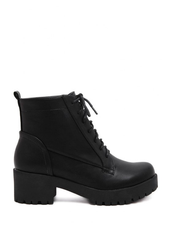 women Chunky Heel Lace-Up Black Short Boots - BLACK 35