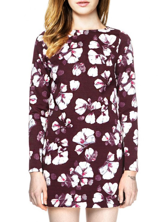 womens Floral Print Long Sleeve Backless Dress - DARK RED S