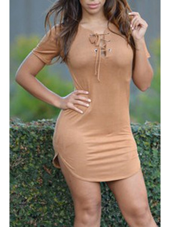 outfits Solid Color Lace-Up Plunging Neck Short Sleeves Dress - COFFEE S