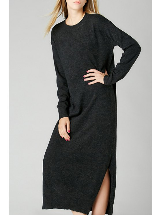 women's Long Sleeve Side Slit Sweater Dress - DEEP GRAY ONE SIZE(FIT SIZE XS TO M)