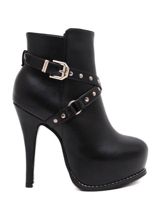online Criss-Cross Rivets Platform High Heel Boots - BLACK 34