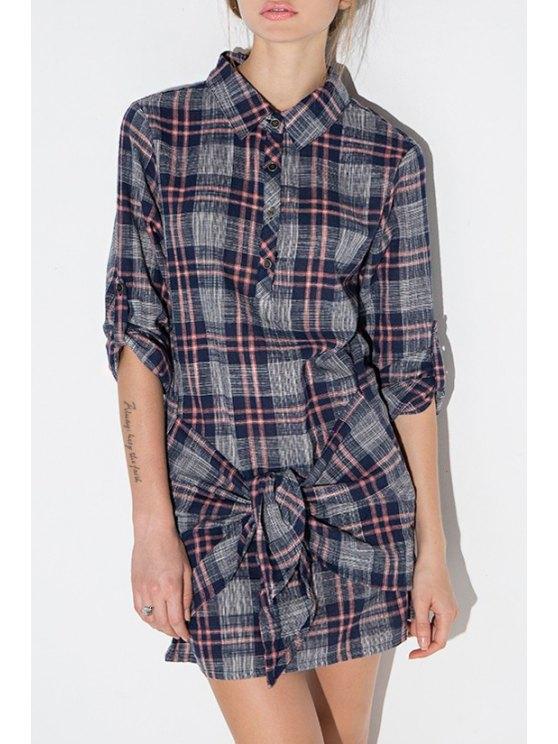 women's Plaid Self Tie Shirt Neck Dress - DEEP BLUE S