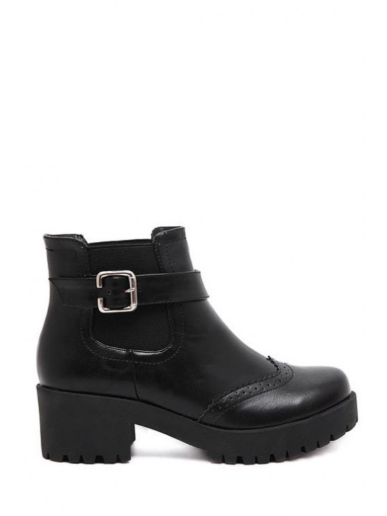 sale Engraving Elastic Platform Short Boots - BLACK 35