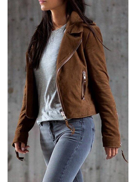 fancy Solid Color Turn-Down Collar Long Sleeves Jacket - DEEP BROWN S