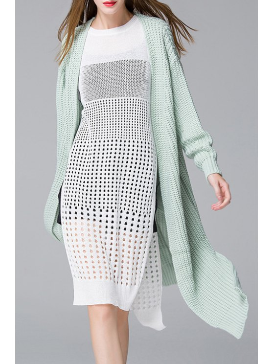 chic Open Front Side Slit Long Cardigan - GREEN ONE SIZE(FIT SIZE XS TO M)