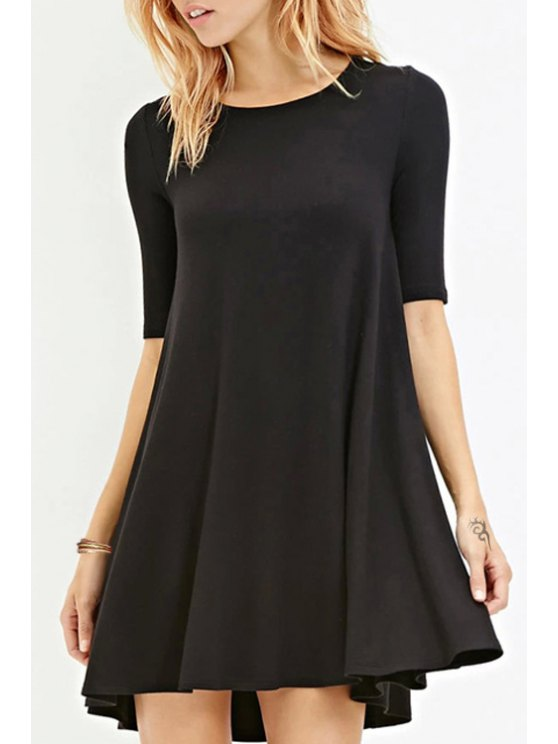 fashion Solid Color Jewel Neck Half Sleeve Dress - BLACK S