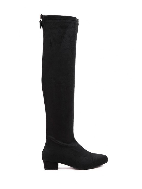 Chunky Heel Black Suede Thigh High Boots BLACK: Boots 37 | ZAFUL